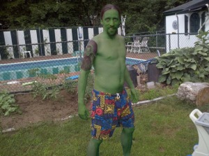 A green man in crazy pants.